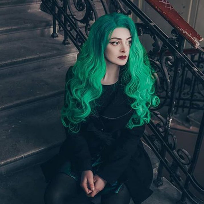 Green Synthetic Lace Front Wig HS0015